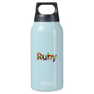 La botella reutilizable del rubí para el agua