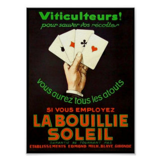 LA BOUILLIE SOLEIL VINTAGE PRINT POSTER POKER HAND