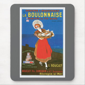 La Boulonnaise Canned Fish Vintage Food Ad Art Mouse Pad