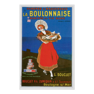 La Boulonnaise Canned Fish Vintage Food Ad Art Poster