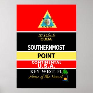 La boya más situada más al sur Key West del punto Póster