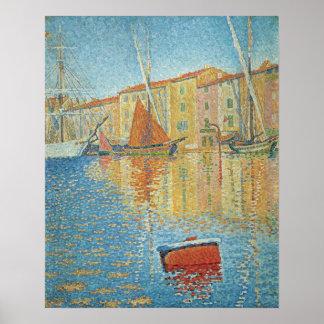 La boya roja de Paul Signac Pointillism del vinta Impresiones