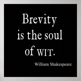 La brevedad de la cita de Shakespeare es el alma Póster