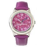 La Brillo-Mirada rosada del chica personalizado Relojes De Pulsera