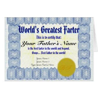 La broma más grande del padre del certificado de tarjeta de felicitación