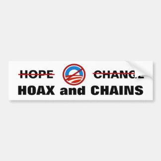 La broma y las cadenas de Obama Pegatina De Parachoque