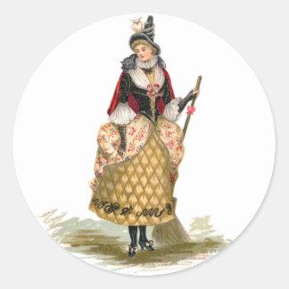 La bruja, pegatinas de Halloween del vintage Pegatina Redonda