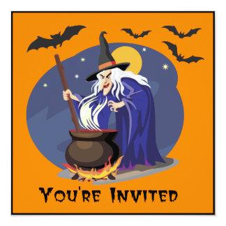 """La bruja que revuelve su Brew invita Invitación 5.25"""" X 5.25"""""""
