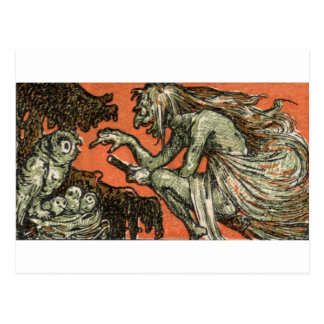 La bruja traviesa y los búhos tarjetas postales