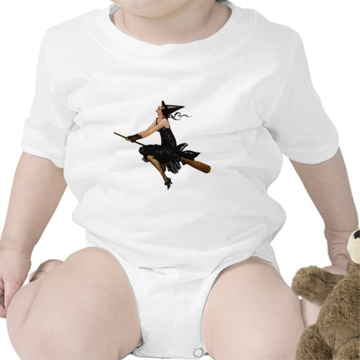La bruja va a volar en un palo de escoba trajes de bebé