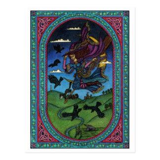 la bruja y los cuervos postal
