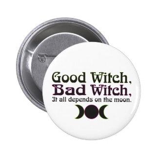 "La ""buena bruja, mala bruja… ""abotona pin redondo 5 cm"
