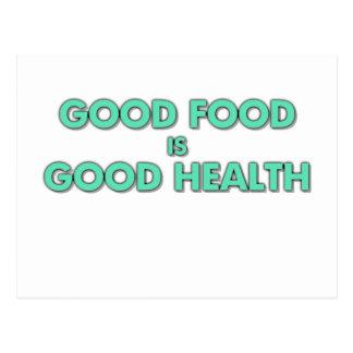 La buena comida es buena salud tarjetas postales