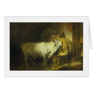 La Bull blanca en el estable (aceite en lona) Tarjeton