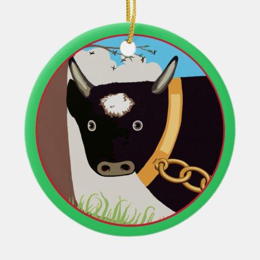 La Bull grande Adorno Navideño Redondo De Cerámica