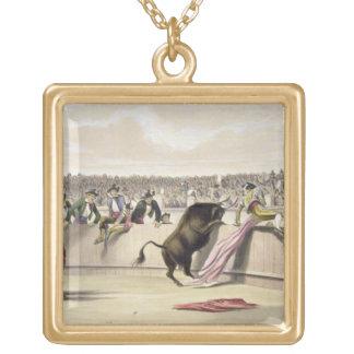 La Bull que salta las barreras, 1865 (litho del co Colgante Cuadrado