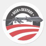 la búsqueda de obama y destruye al pegatina de la