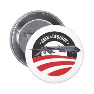 la búsqueda del abejón de obama y destruye el botó pin redondo de 2 pulgadas