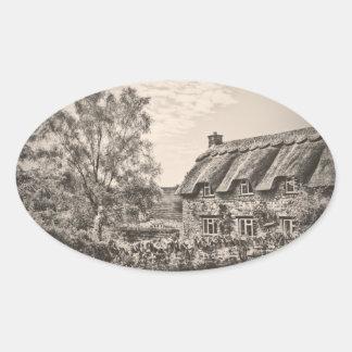 La cabaña cubierta con paja (pegatinas del óvalo pegatinas oval personalizadas
