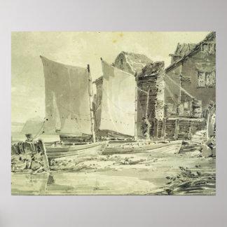 La cabaña del pescador, Dover, 1790s (lápiz y w gr Póster