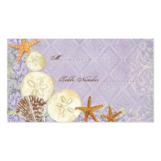 La cabaña floral por el mar descasca el boda con tarjetas de visita