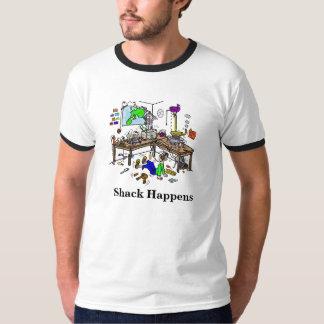 La cabaña sucede camiseta divertida de Radio Shack