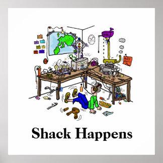 La cabaña sucede poster divertido de Radio Shack d