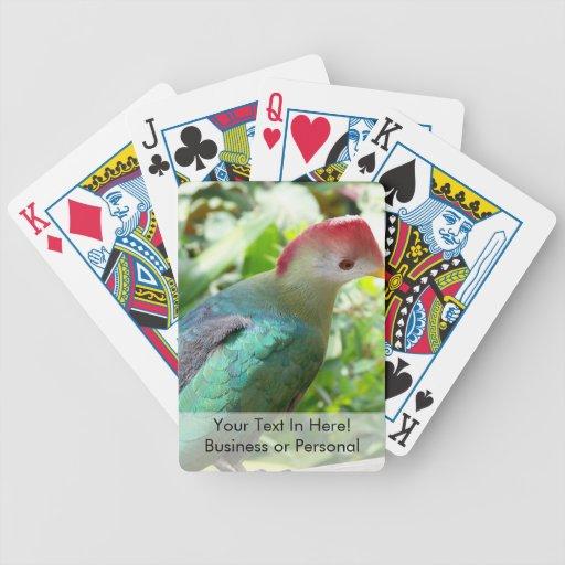 La cabeza colorida del pájaro giró el poste barajas de cartas