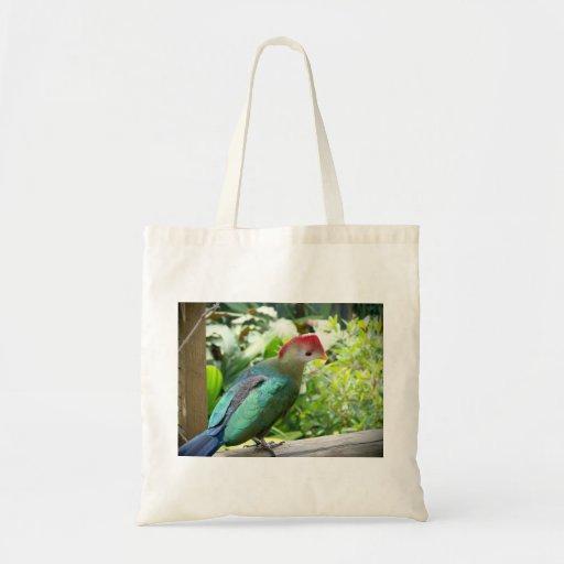 La cabeza colorida del pájaro giró el poste bolsa de mano