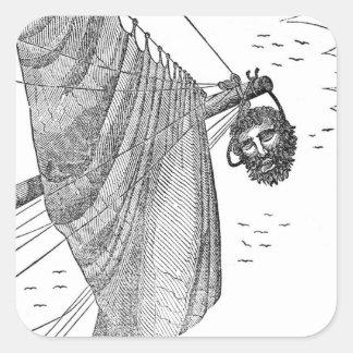La cabeza de Blackbeard que es colgada del arco Pegatina Cuadrada