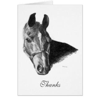 La cabeza de caballo árabe del grafito le agradece tarjeton