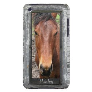 La cabeza de caballo enmarcada rústica, personaliz barely there iPod carcasas