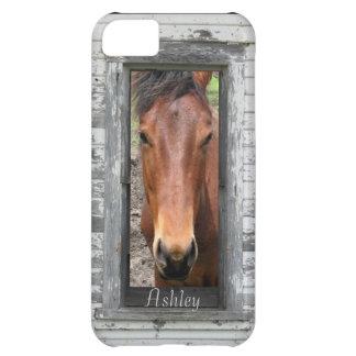 La cabeza de caballo enmarcada rústica, personaliz funda para iPhone 5C