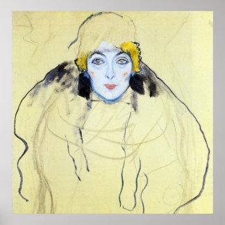 La cabeza de la mujer de Gustavo Klimt Posters