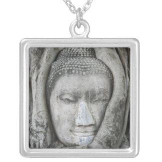 La cabeza de la piedra arenisca de Buda rodeó por  Grímpola