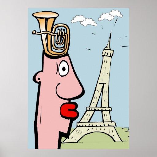 La cabeza de la tuba visita París Poster