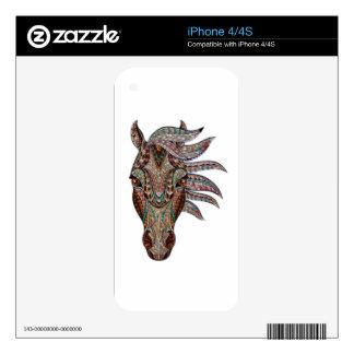 La cabeza de un caballo pintado sobre el vidrio calcomanías para el iPhone 4S