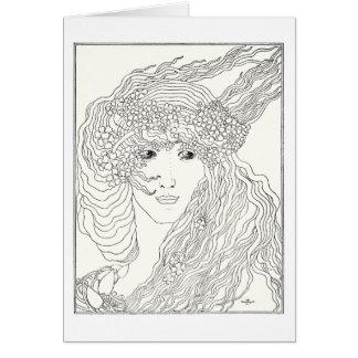 La cabeza de una mujer tarjeta de felicitación