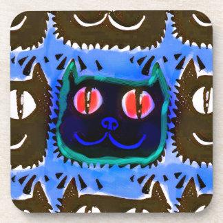 la cabeza del gato azul tejó lo contrario del posavaso
