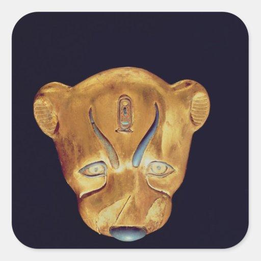 La cabeza del leopardo, de la tumba de Tutankhamun Pegatina Cuadrada
