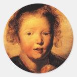 La cabeza del niño de Jacob Jordaens- Etiqueta Redonda