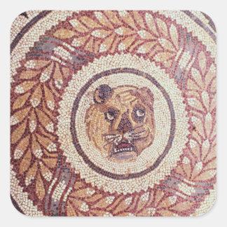 La cabeza del tigre, mosaico romano, siglo IV Pegatina Cuadrada
