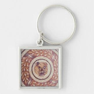 La cabeza del tigre, mosaico romano, siglo IV temp Llavero Cuadrado Plateado