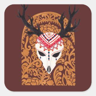 La cabeza étnica de los ciervos pegatina cuadrada
