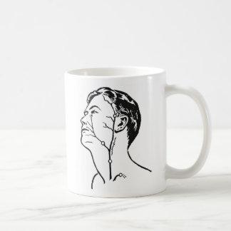La cabeza médica del kitsch retro del vintage taza