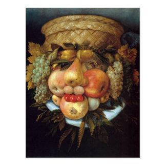 La cabeza reversible de Giuseppe Arcimboldo con la Tarjetas Postales