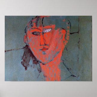 La cabeza roja, c.1915 póster