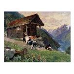 La cabina de las criadas noruegas de la leche tarjeta postal