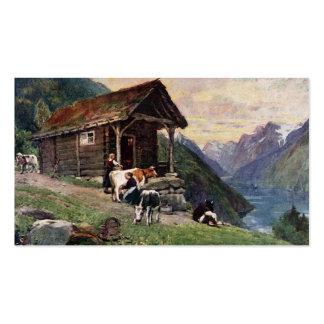 La cabina de las criadas noruegas de la leche tarjetas de visita