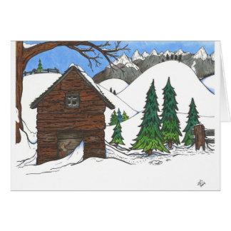 La cabina Nevado Tarjeta De Felicitación